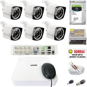 Kit CFTV 6 Câmeras Citrox Full HD Infravermelho 30 Metros 2MP