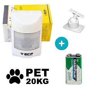 Sensor de Presença Infravermelho Sem Fio Pet ECP com Suporte e Bateria