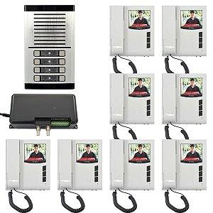 Kit Vídeo Porteiro Eletrônico Coletivo HDL Para 8 Pontos Com Monitores