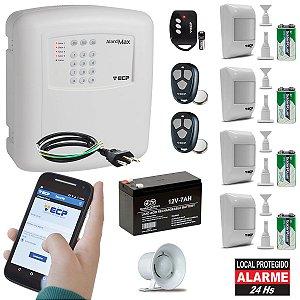 Kit Alarme Residencial Gsm Chip 4 Sensores Presença Sem Fio