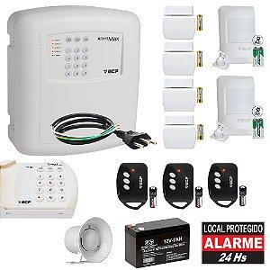 Kit Alarme Residencial ECP Discadora 6 Sensores Teclado Max4