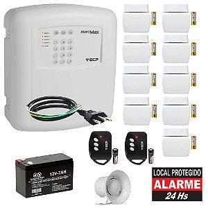 Kit Alarme Casa Completo ECP Com Discadora 9 Sensores Abertura Sem Fio