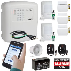 Kit Alarme Residencial com Discadora GSM ECP Chip 5 Sensores Sem Fio Max 4