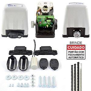 Kit Motor Portão Rossi DZ4 Deslizante Semi-Industrial 800kg + 3m Cremalheiras + 2 Controles