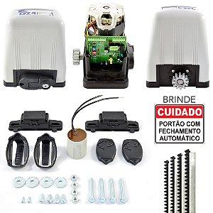 Kit Motor Portão Rossi DZ4 Deslizante Semi-Industrial 800Kg + 4m Cremalheiras + 2 Controles