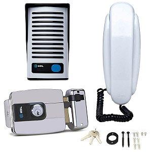 Kit Interfone HDL F8 NTL Com Fechadura Elétrica C90 Inox Dupla