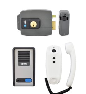 Kit Interfone Residencial HDL F8 S NTL + Fechadura Elétrica HDL C90 para Portão
