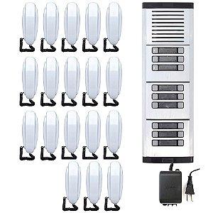 Kit Porteiro Eletrônico HDL Coletivo 18 Pontos Predial Completo