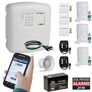 Kit Alarme Residencial ECP GSM Chip Celular Sem Fio 6 Sensores Wireless