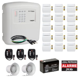 Kit Alarme Residencial Com Discadora ECP 15 Sensores Abertura Sem Fio