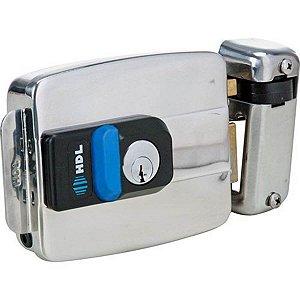 Fechadura Elétrica HDL C90 Inox Com Botão 12V Externa Para Portão