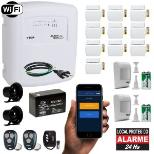 Kit Alarme Residencial Wifi com Internet Aplicativo iPhone e Android 12 Sensores