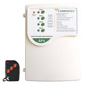 Central Alarme 4 Setores Sem Fio Compatec AP4 + 1 Controle Remoto