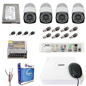 Kit DVR 4 Câmeras Full HD Infravermelho 30m Visão Noturna Citrox