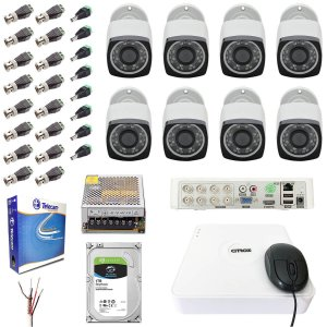 Kit DVR 8 Câmeras Full HD 1080p Externa Infra 30m Aplicativo iPhone Android