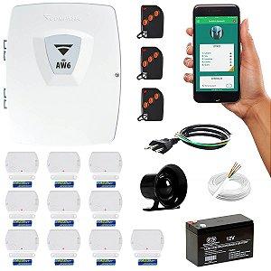 Kit Alarme Residencial Wifi Com 10 Sensores Porta/Janela Sem Fio App iPhone e Android