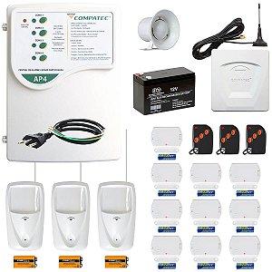 Kit Alarme Residencial GSM Discadora Celular Sem Fio 13 Sensores