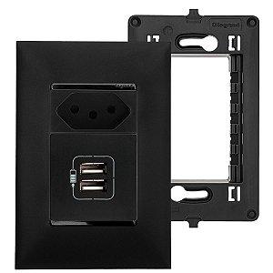 Tomada Dupla Com USB Preta 2400mA + Tomada Simples 10A Pial Plus