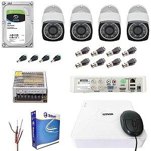 Kit DVR 4 Câmeras 1080p Externa 30m Citrox HD 1TB Seagate Skyhawk