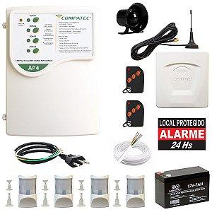 Kit Alarme Residencial Discadora GSM 4 Sensor Infra PET Compatec