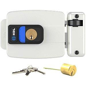 Fechadura Elétrica HDL C90 Branca Botão Ajustável Portão 31-87mm