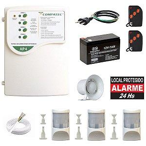 Alarme Residencial Com Fio Compatec 3 Sensor Infra PET c/ Bateria