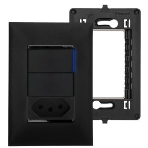Tomada 10A Preta Com Interruptor Paralelo C/ Espelho Pial Plus++