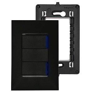 Interruptor Paralelo Preto Duplo Pial Legrand Suporte 4x2 Placa