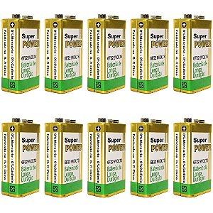 Kit 10 Bateria 9 Volts Quadrada p/ Sensor de Alarme