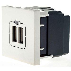 Tomada USB Pial Plus+ Legrand Dupla 2400mA Branca 615089BC