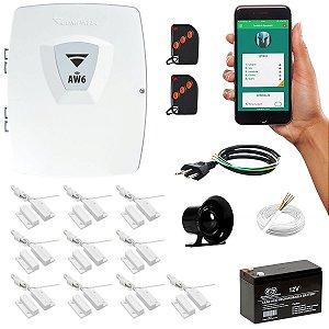Alarme AW6 Compatec Central Wifi Aplicativo 10 Sensor Magnético