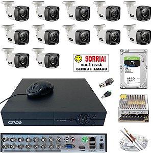 Kit CFTV 12 Câmeras Citrox 720p Infravermelho 20 Metros HD 1TB
