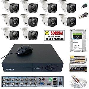 Kit Monitoramento Residencial 10 Câmeras Citrox 720p 1TB Skyhawk