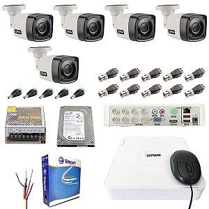 Kit CFTV 5 Câmeras Citrox Visão Noturna HD 720p 20 Metros 500GB