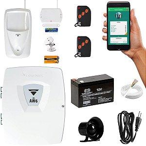 Alarme Residencial Sem Fio AW6 Internet Wifi Aplicativo 2 Sensor