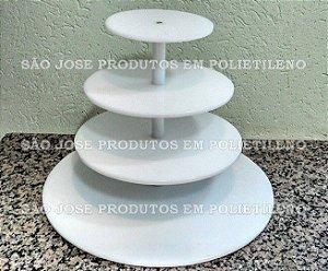 Suporte para Cupcake de 4 andares com base 45cm, e andares 35cm,25cm e 15cm com vãos de 15cm
