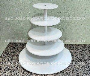 Suporte para Cupcake de 5 andares com base 50cm, e andares 45cm,35cm,25cm e 15cm com vãos de 15cm