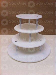 Suporte de 4 andares redondo com base de 40cm + andares de 30cm,25cm,20cm
