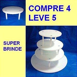 Suporte P/ Bolo 4 Andares Banquinho + Brinde Suporte 10 Cm