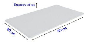 Tabua De Polietileno, para corte 60 Cm X 40 Cm X 15 mm