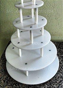 Suporte de 5 andares redondo com base de 40cm + andares de 30cm,25cm,20cm e 15cm