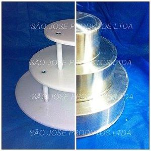 Kit suporte de 3 andares redondo + Formas 8 cm altura em alumínio