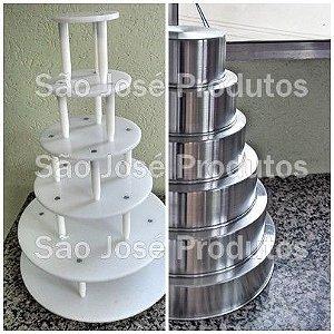 Kit Suporte De 6 Andares Redondo + Formas Para Bolo alumínio com 10cm