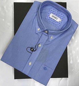 Camisa Dimarsi - Com Bolso - Manga Curta - 100% Algodão - Ref. 8903 Xadrez Azul