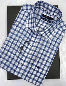 Camisa Dimarsi - Com Bolso - Manga Curta - Algodão Egípcio - Ref. 8907  Xadrez Azul