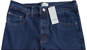 Calça Jeans Masculina Pierre Cardin Reta (Cintura Alta) - Ref. 467P396 Azul - Algodão / Poliester / Elastano (Jeans Fino e Macio)
