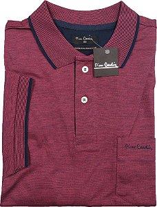 Camisa Polo Pierre Cardin Com Bolso - Manga Curta Com Punho  - Algodão Fio de Escócia - Ref 15698 Vinho