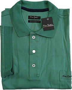 Camisa Polo Pierre Cardin (PLUS SIZE) Com Bolso - Manga Curta Com Punho - Fio de Escócia - 100% Algodão - Ref. 15686 Verde
