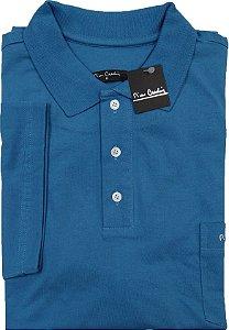 Camisa Polo Pierre Cardin (PLUS SIZE) Com Bolso - Manga Curta - 100% Algodão - Ref. 12814 Azul