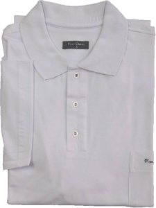 Camisa Polo Pierre Cardin (PLUS SIZE) Com Bolso - Manga Curta - 100% Algodão - Ref. 12814 Branca